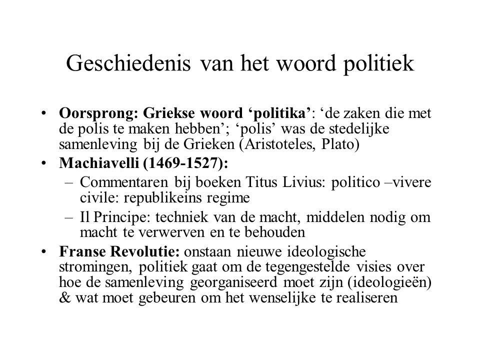 Geschiedenis van het woord politiek Oorsprong: Griekse woord 'politika': 'de zaken die met de polis te maken hebben'; 'polis' was de stedelijke samenl