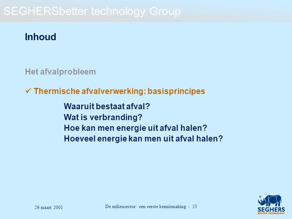 SEGHERSbetter technology Group De milieusector: een eerste kennismaking - 13 26 maart 2001 Inhoud Het afvalprobleem Thermische afvalverwerking: basisp