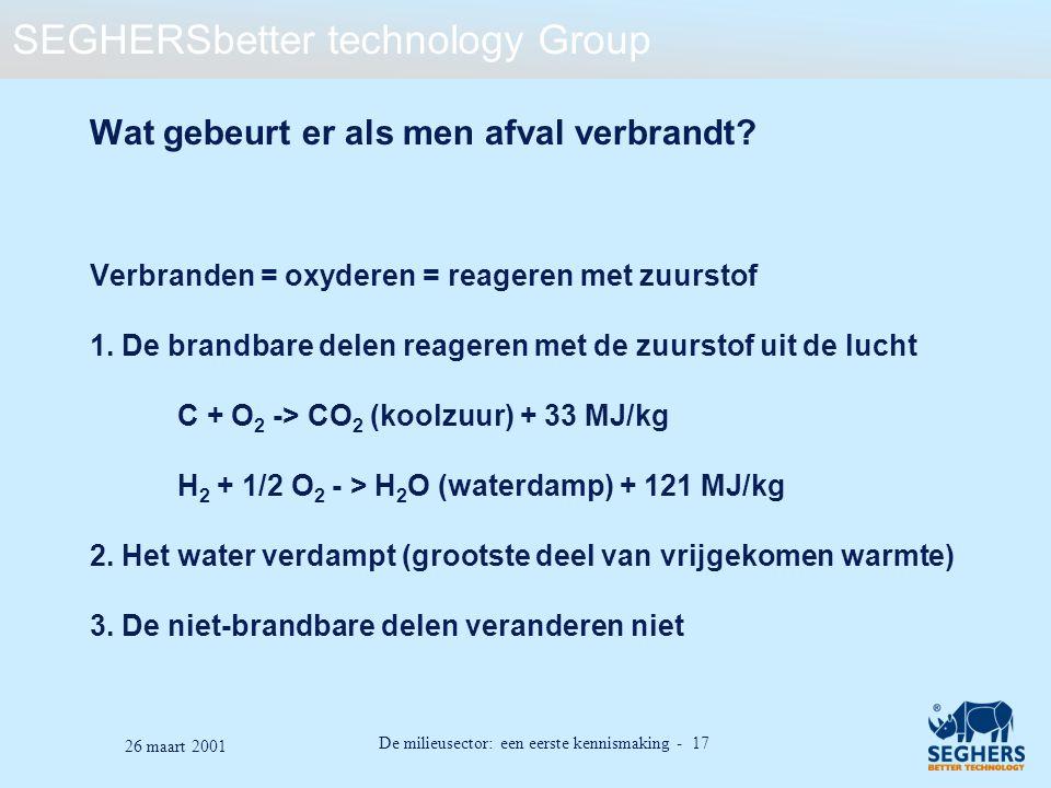 SEGHERSbetter technology Group De milieusector: een eerste kennismaking - 17 26 maart 2001 Wat gebeurt er als men afval verbrandt? Verbranden = oxyder