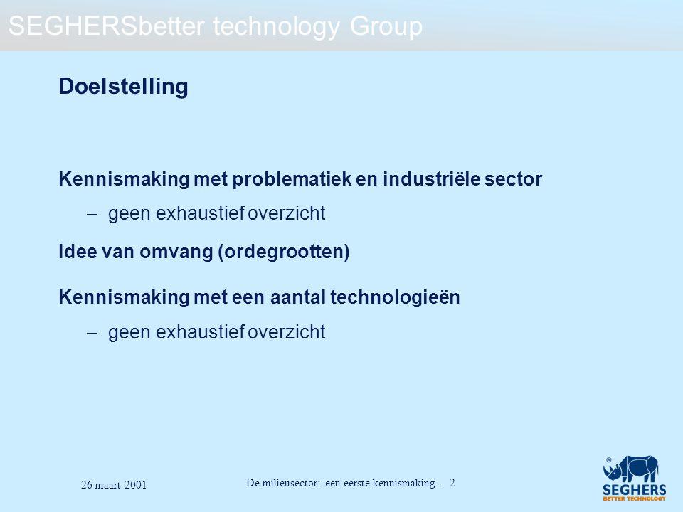 De milieusector: een eerste kennismaking - 2 26 maart 2001 Doelstelling Kennismaking met problematiek en industriële sector –geen exhaustief overzicht