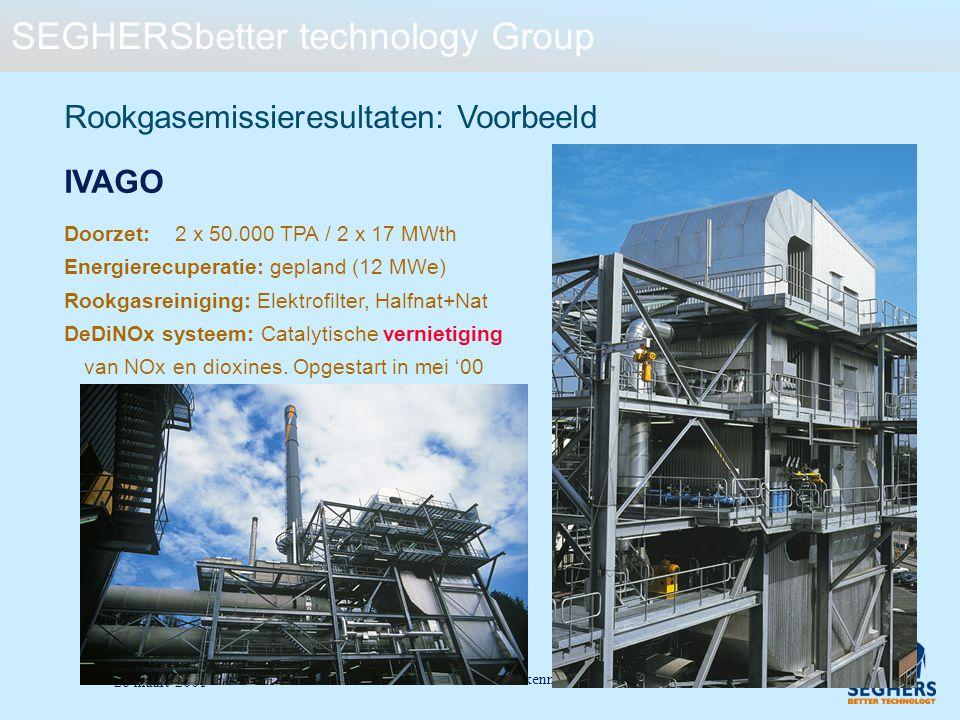 SEGHERSbetter technology Group De milieusector: een eerste kennismaking - 23 26 maart 2001 Doorzet:2 x 50.000 TPA / 2 x 17 MWth Energierecuperatie: ge