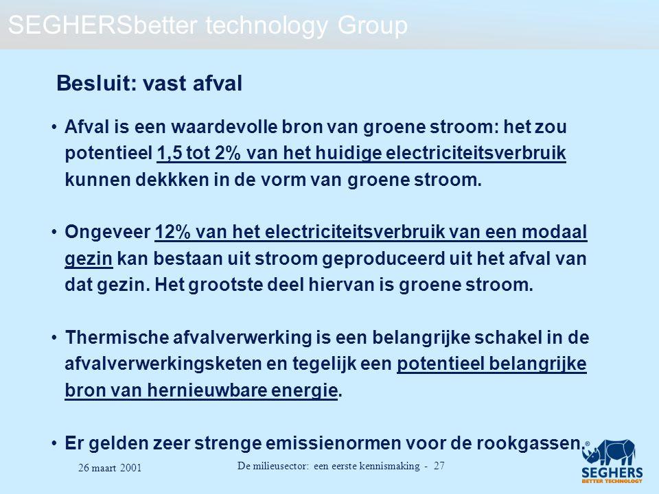 SEGHERSbetter technology Group De milieusector: een eerste kennismaking - 27 26 maart 2001 Besluit: vast afval Afval is een waardevolle bron van groen