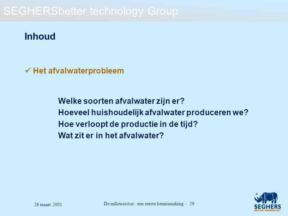 SEGHERSbetter technology Group De milieusector: een eerste kennismaking - 29 26 maart 2001 Inhoud Het afvalwaterprobleem Welke soorten afvalwater zijn