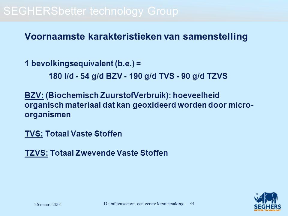 SEGHERSbetter technology Group De milieusector: een eerste kennismaking - 34 26 maart 2001 Voornaamste karakteristieken van samenstelling 1 bevolkings