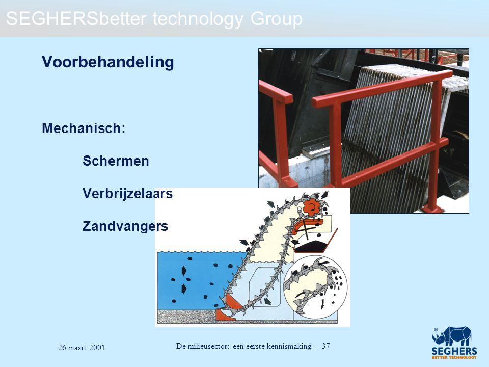 SEGHERSbetter technology Group De milieusector: een eerste kennismaking - 37 26 maart 2001 Voorbehandeling Mechanisch: Schermen Verbrijzelaars Zandvan