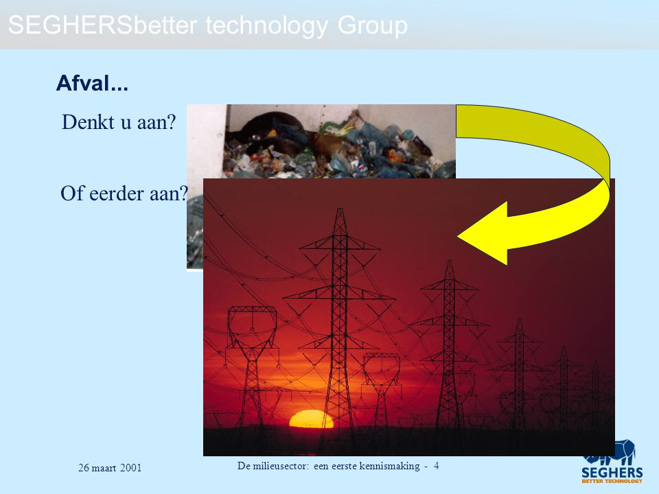 SEGHERSbetter technology Group De milieusector: een eerste kennismaking - 25 26 maart 2001 Inhoud Het afvalprobleem Thermische afvalverwerking: basisprincipes Afvalverbranding Afval als bron van groene stroom Wat is het energiepotentieel van afval.