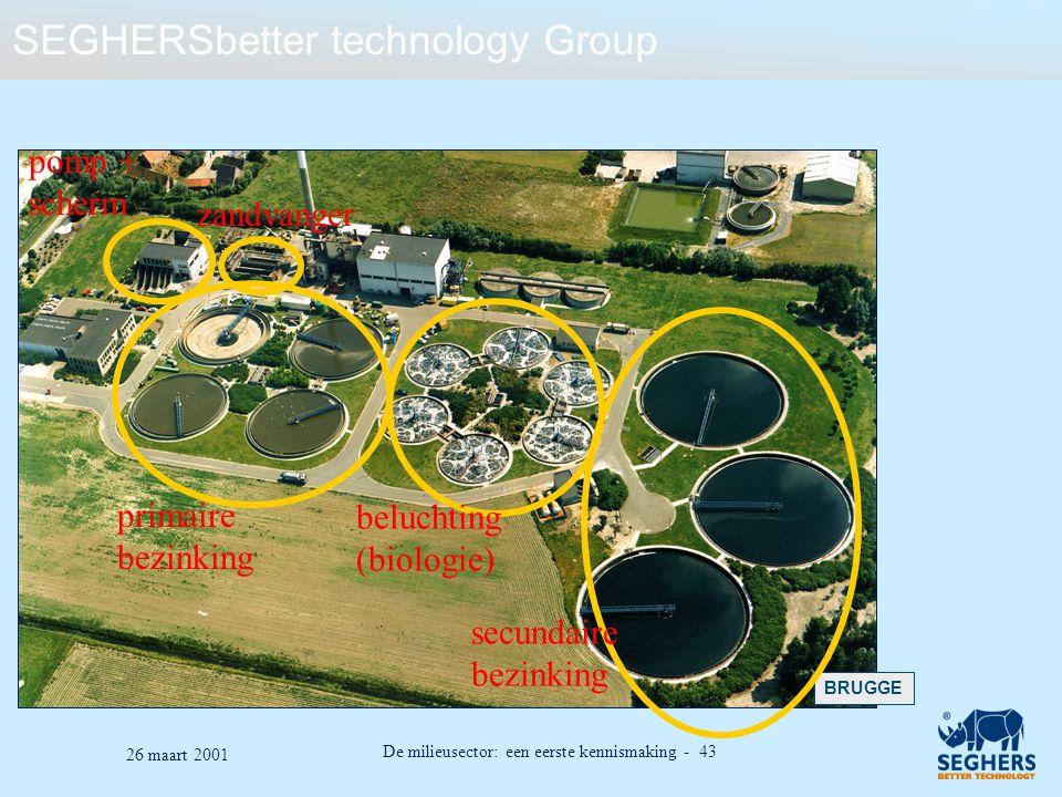 SEGHERSbetter technology Group De milieusector: een eerste kennismaking - 43 26 maart 2001 BRUGGE primaire bezinking beluchting (biologie) secundaire