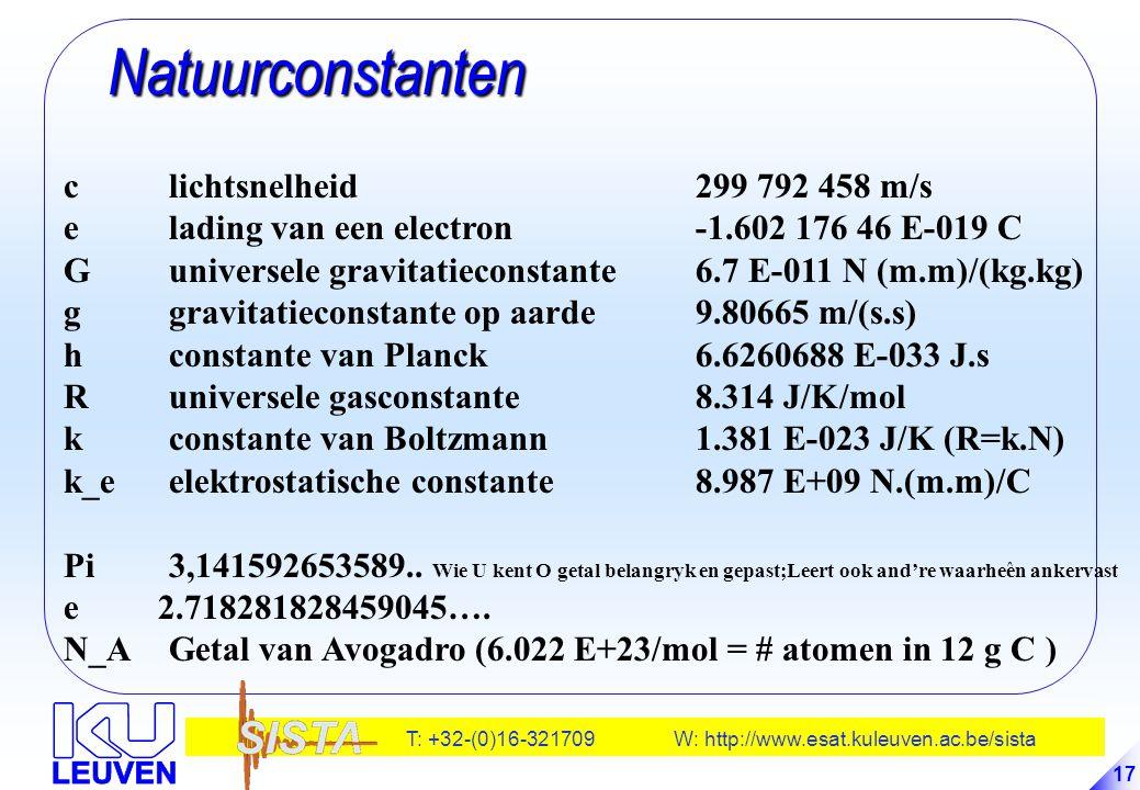 T: +32-(0)16-321709 W: http://www.esat.kuleuven.ac.be/sista 17 Natuurconstanten Natuurconstanten clichtsnelheid299 792 458 m/s elading van een electro