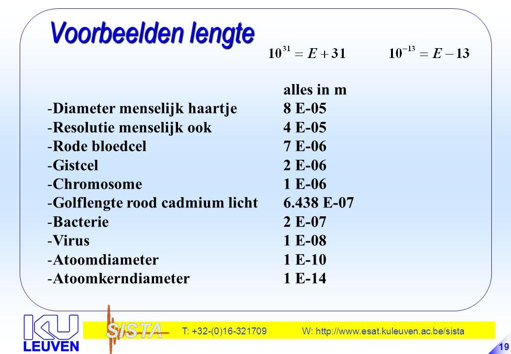 T: +32-(0)16-321709 W: http://www.esat.kuleuven.ac.be/sista 19 Voorbeelden lengte Voorbeelden lengte alles in m -Diameter menselijk haartje8 E-05 -Res