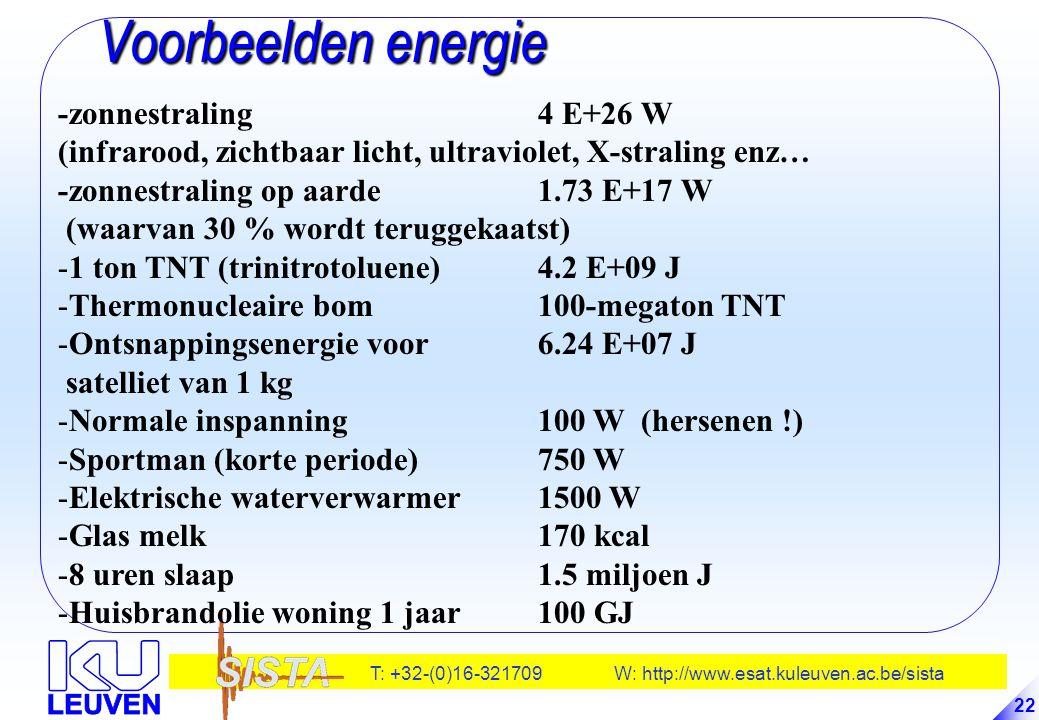 T: +32-(0)16-321709 W: http://www.esat.kuleuven.ac.be/sista 22 Voorbeelden energie Voorbeelden energie -zonnestraling 4 E+26 W (infrarood, zichtbaar l