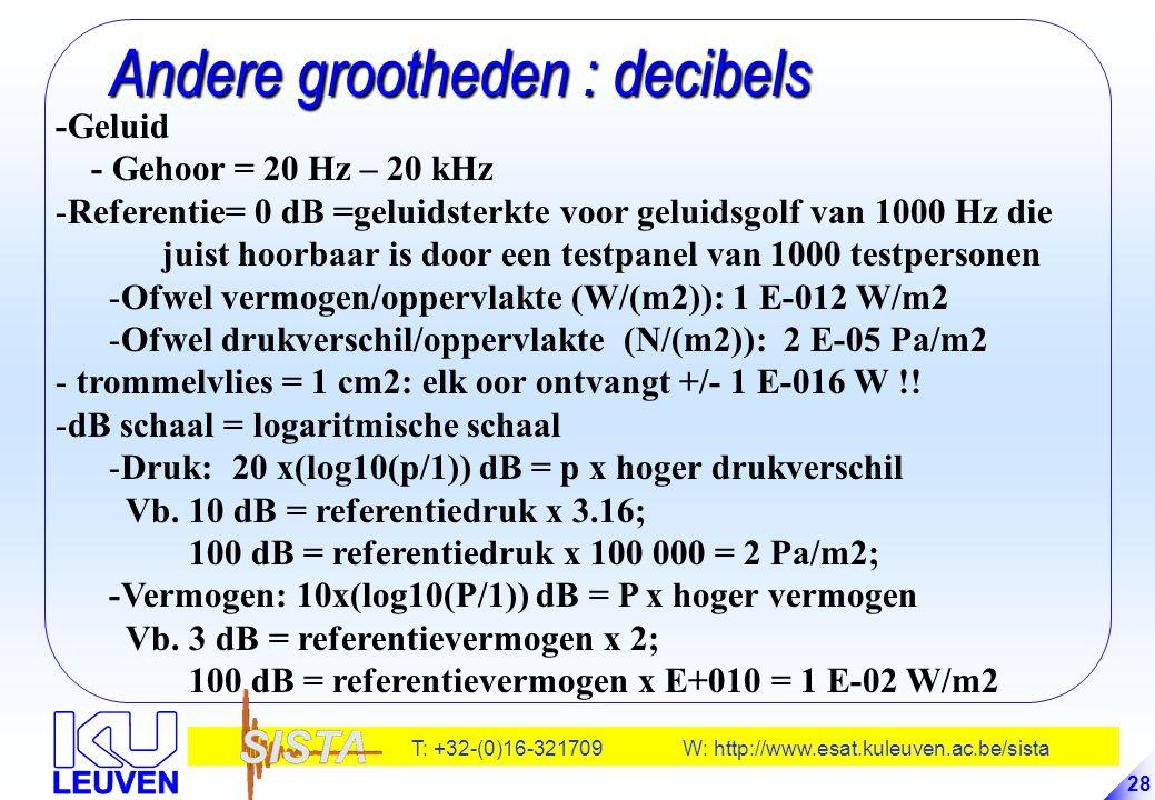 T: +32-(0)16-321709 W: http://www.esat.kuleuven.ac.be/sista 28 Andere grootheden : decibels Andere grootheden : decibels -Geluid - Gehoor = 20 Hz – 20