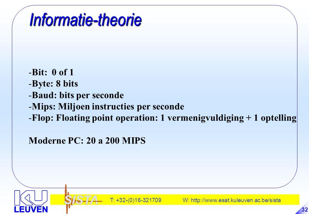 T: +32-(0)16-321709 W: http://www.esat.kuleuven.ac.be/sista 32 Informatie-theorie Informatie-theorie -Bit: 0 of 1 -Byte: 8 bits -Baud: bits per second