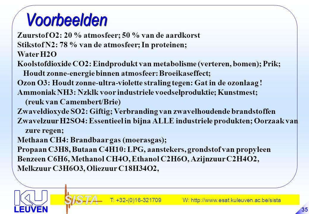 T: +32-(0)16-321709 W: http://www.esat.kuleuven.ac.be/sista 35 Voorbeelden Voorbeelden Zuurstof O2: 20 % atmosfeer; 50 % van de aardkorst Stikstof N2: