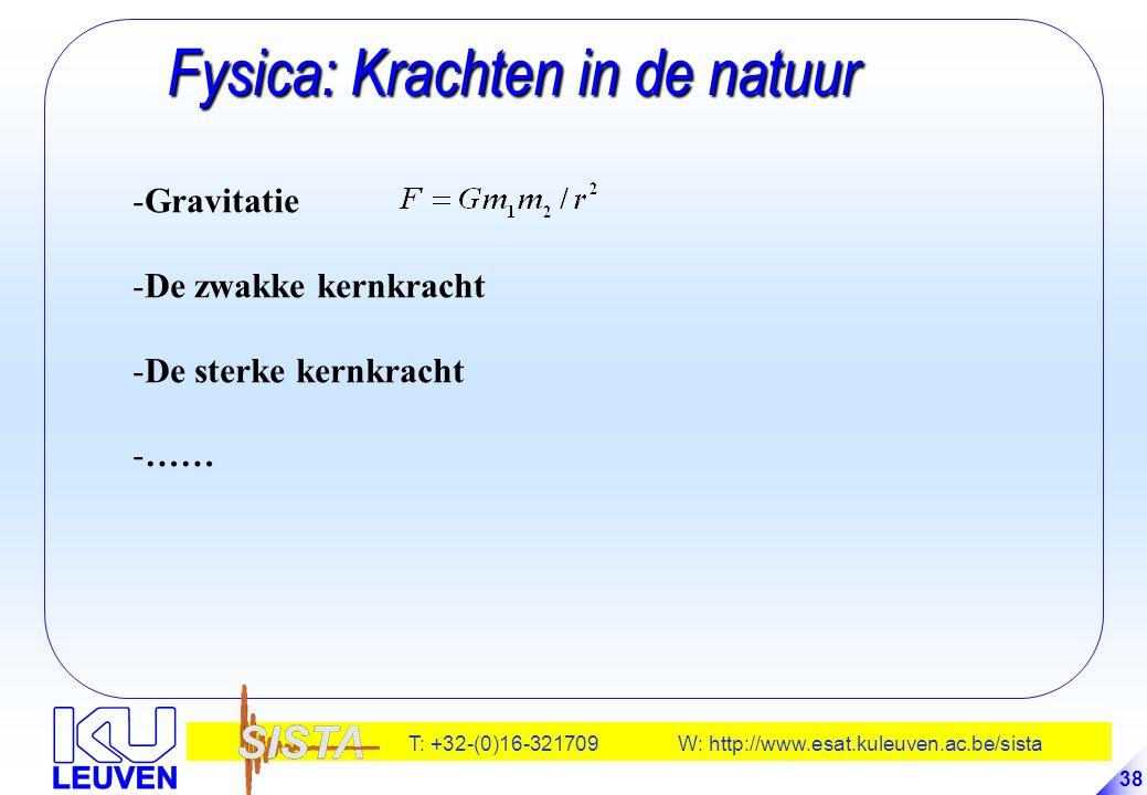 T: +32-(0)16-321709 W: http://www.esat.kuleuven.ac.be/sista 38 Fysica: Krachten in de natuur Fysica: Krachten in de natuur -Gravitatie -De zwakke kern