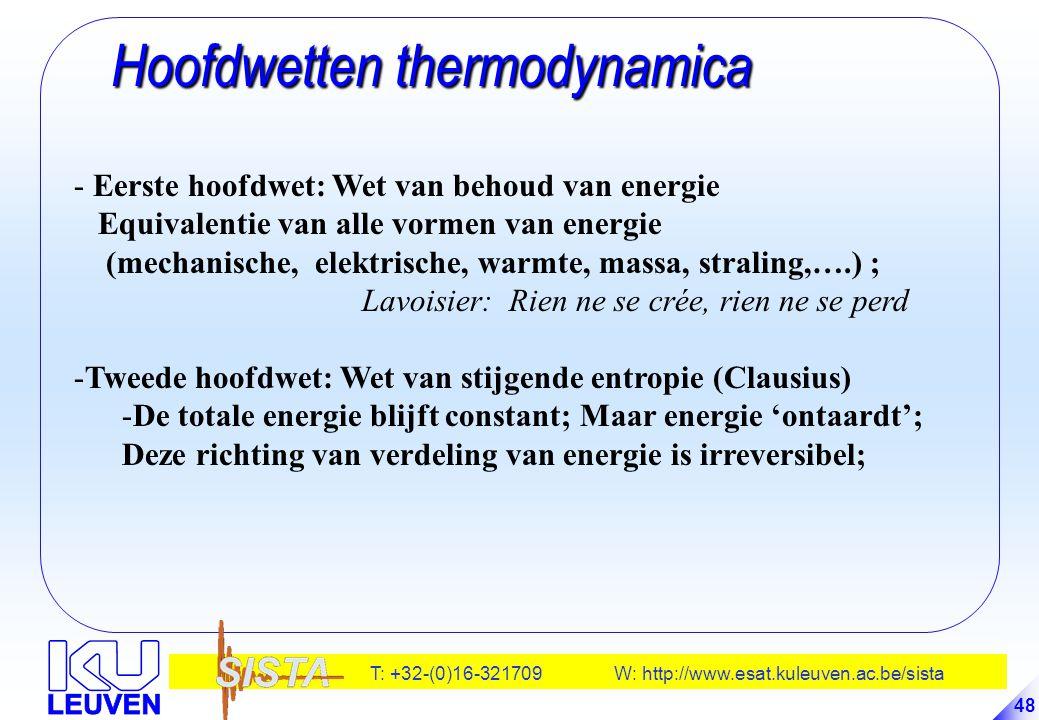 T: +32-(0)16-321709 W: http://www.esat.kuleuven.ac.be/sista 48 Hoofdwetten thermodynamica Hoofdwetten thermodynamica - Eerste hoofdwet: Wet van behoud