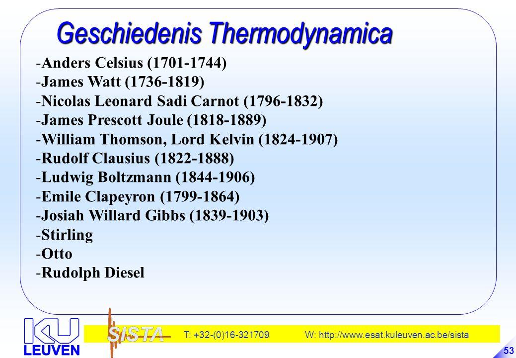 T: +32-(0)16-321709 W: http://www.esat.kuleuven.ac.be/sista 53 Geschiedenis Thermodynamica Geschiedenis Thermodynamica -Anders Celsius (1701-1744) -Ja