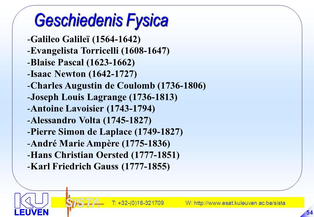 T: +32-(0)16-321709 W: http://www.esat.kuleuven.ac.be/sista 54 Geschiedenis Fysica Geschiedenis Fysica -Galileo Galileï (1564-1642) -Evangelista Torri