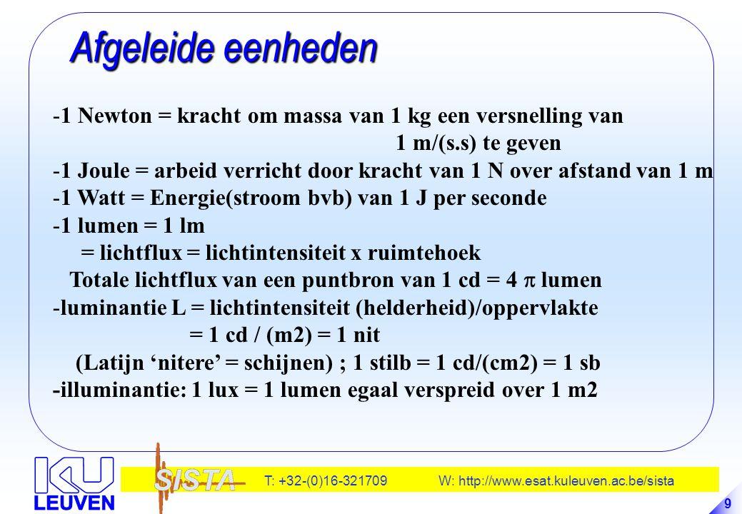 T: +32-(0)16-321709 W: http://www.esat.kuleuven.ac.be/sista 9 Afgeleide eenheden Afgeleide eenheden -1 Newton = kracht om massa van 1 kg een versnelli