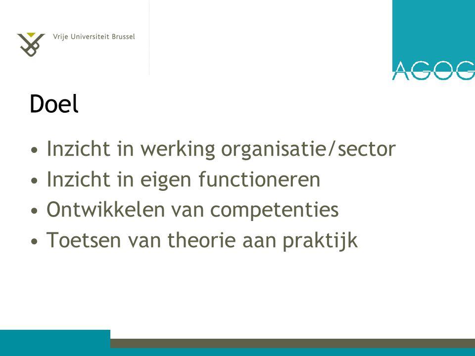 Doel Inzicht in werking organisatie/sector Inzicht in eigen functioneren Ontwikkelen van competenties Toetsen van theorie aan praktijk