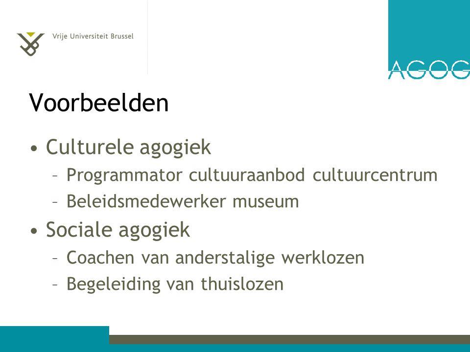 Voorbeelden Culturele agogiek –Programmator cultuuraanbod cultuurcentrum –Beleidsmedewerker museum Sociale agogiek –Coachen van anderstalige werklozen –Begeleiding van thuislozen