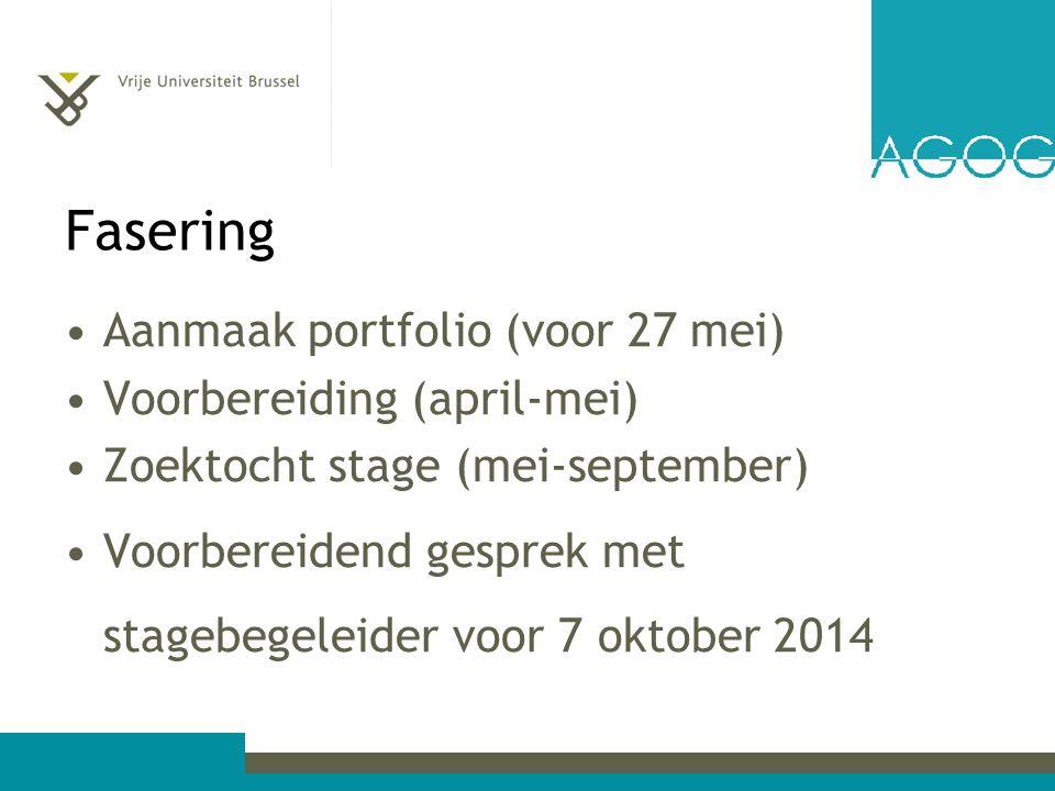 Fasering Aanmaak portfolio (voor 27 mei) Voorbereiding (april-mei) Zoektocht stage (mei-september) Voorbereidend gesprek met stagebegeleider voor 7 oktober 2014