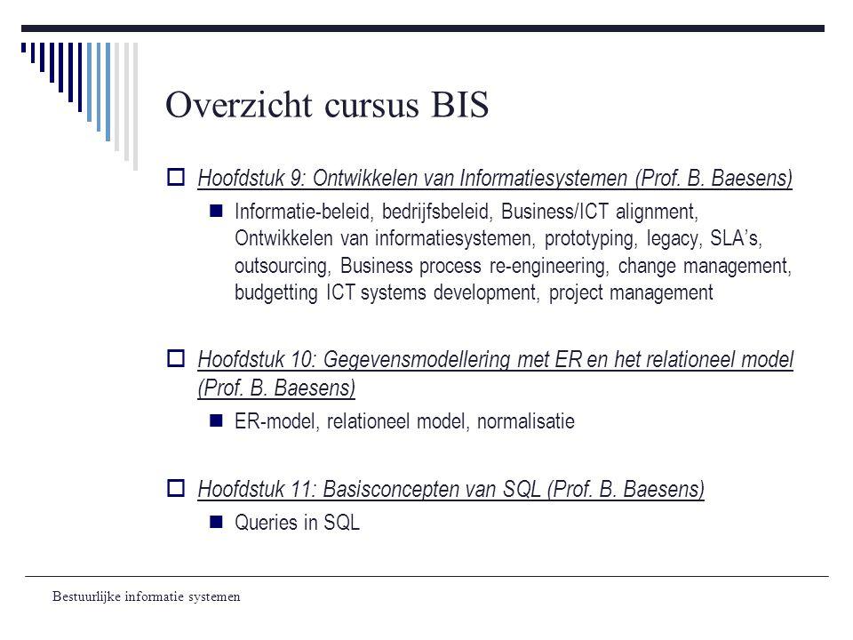 Bestuurlijke informatie systemen Overzicht cursus BIS  Hoofdstuk 9: Ontwikkelen van Informatiesystemen (Prof. B. Baesens) Informatie-beleid, bedrijfs
