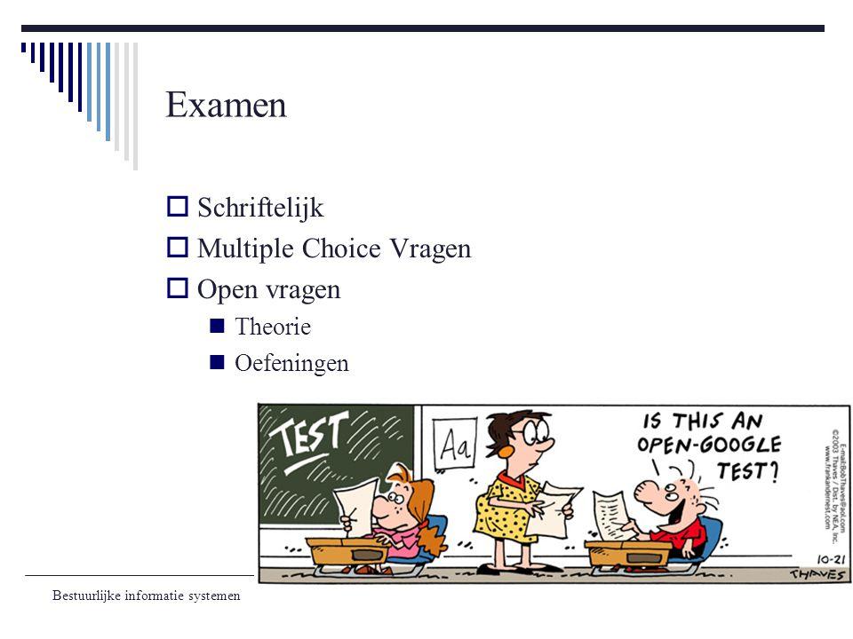 Bestuurlijke informatie systemen Examen  Schriftelijk  Multiple Choice Vragen  Open vragen Theorie Oefeningen