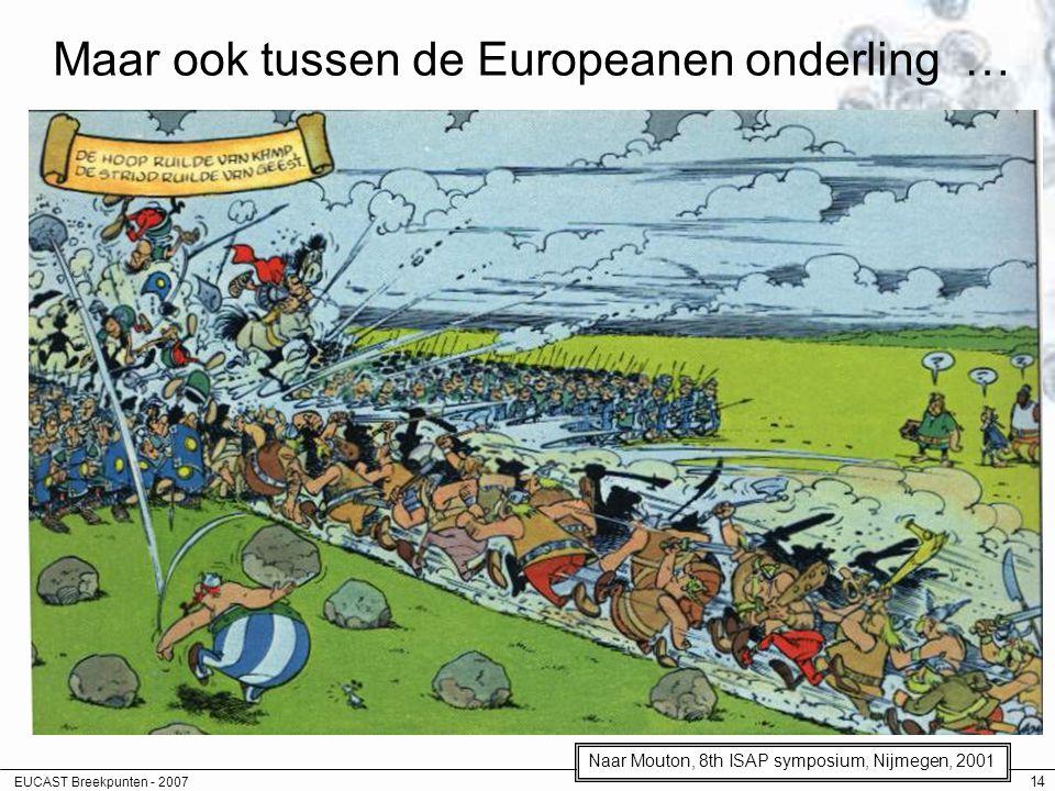 EUCAST Breekpunten - 2007 14 Maar ook tussen de Europeanen onderling … Naar Mouton, 8th ISAP symposium, Nijmegen, 2001