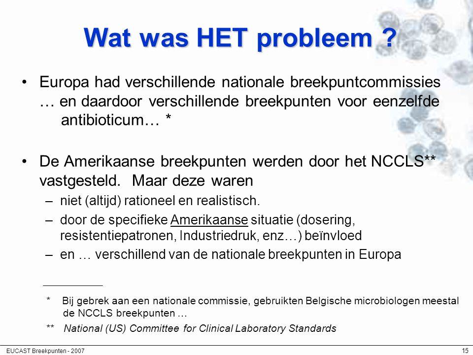 EUCAST Breekpunten - 2007 15 Wat was HET probleem ? Europa had verschillende nationale breekpuntcommissies … en daardoor verschillende breekpunten voo
