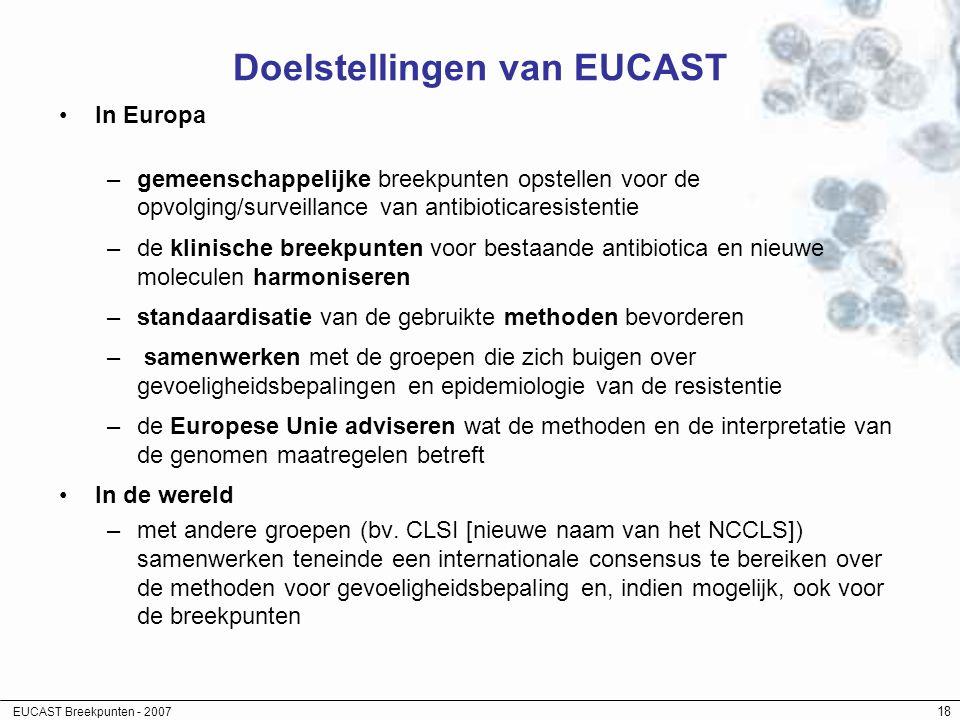 EUCAST Breekpunten - 2007 18 Doelstellingen van EUCAST In Europa –gemeenschappelijke breekpunten opstellen voor de opvolging/surveillance van antibiot