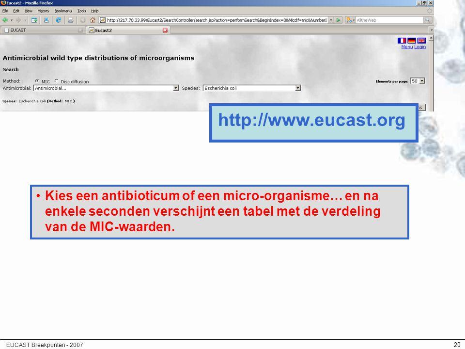 EUCAST Breekpunten - 2007 20 http://www.eucast.org Kies een antibioticum of een micro-organisme… en na enkele seconden verschijnt een tabel met de ver