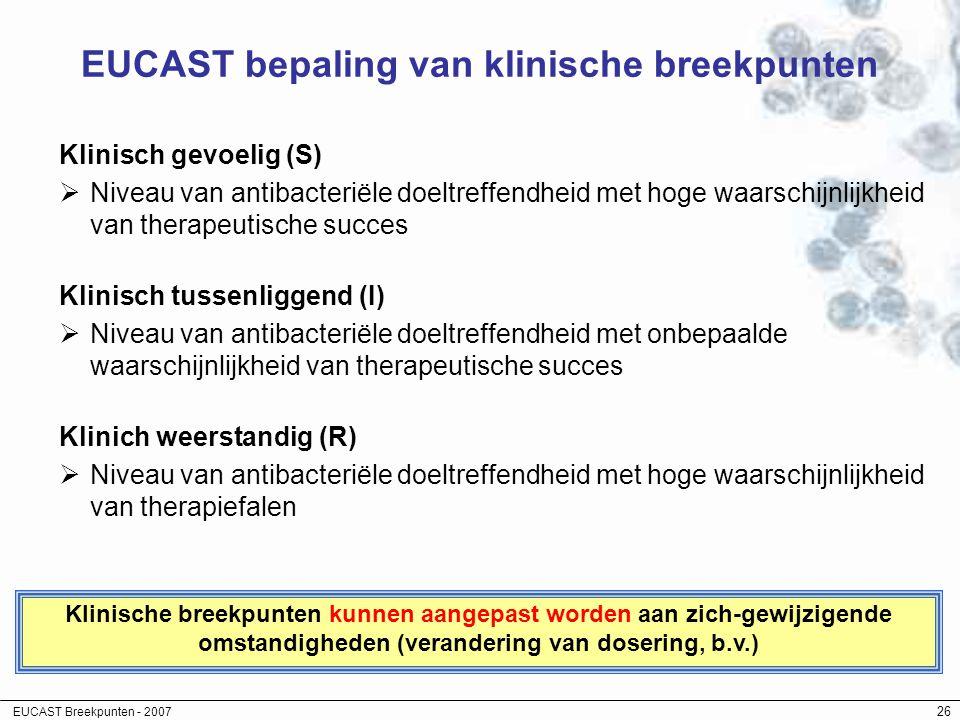 EUCAST Breekpunten - 2007 26 EUCAST bepaling van klinische breekpunten Klinisch gevoelig (S)  Niveau van antibacteriële doeltreffendheid met hoge waa