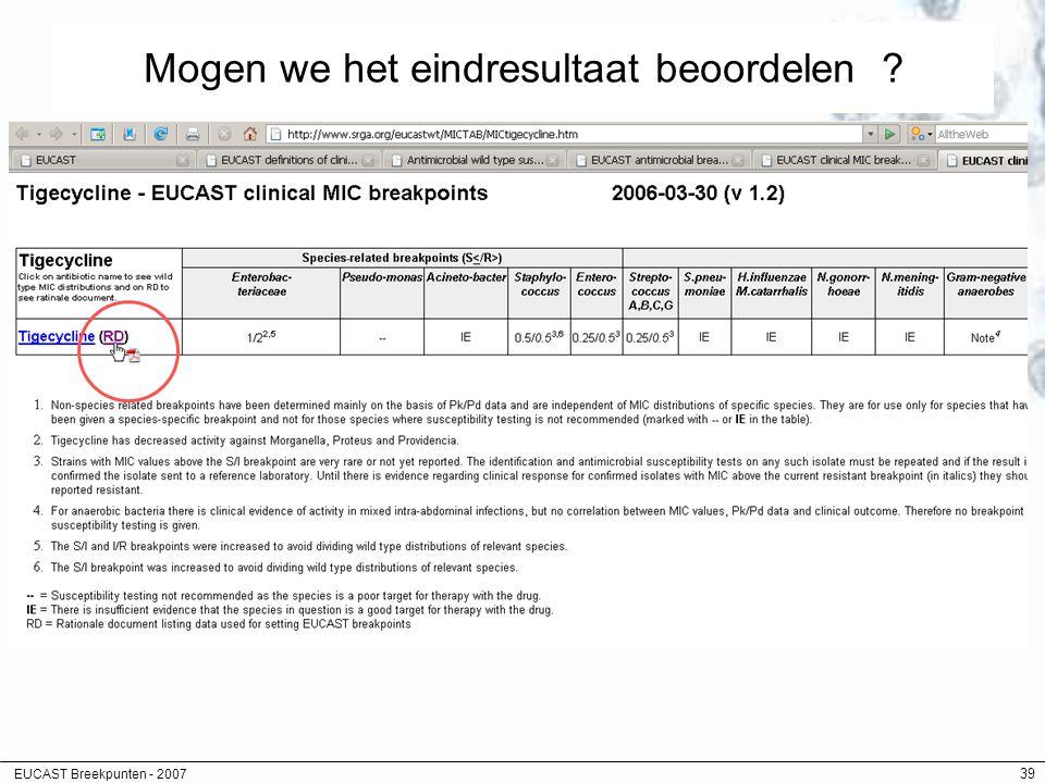 EUCAST Breekpunten - 2007 39 Mogen we het eindresultaat beoordelen ?