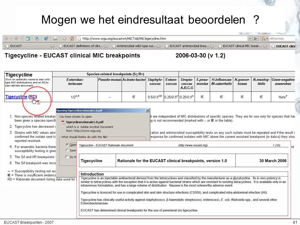 EUCAST Breekpunten - 2007 41 Mogen we het eindresultaat beoordelen ?