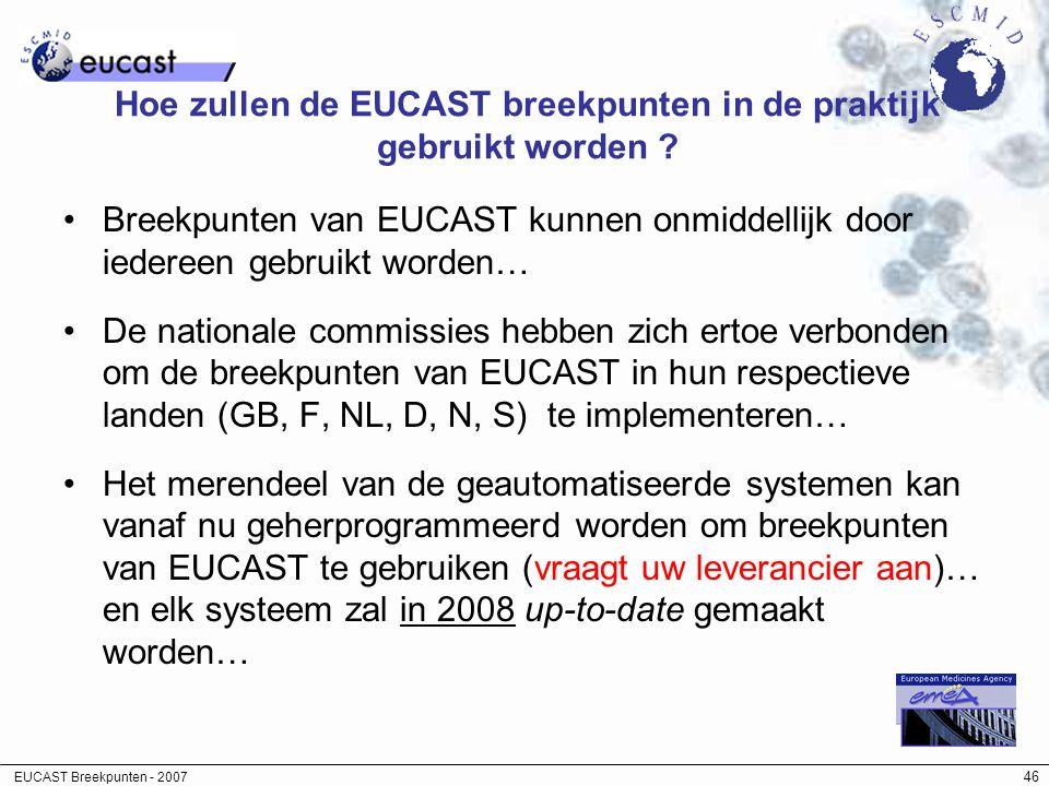 EUCAST Breekpunten - 2007 46 Hoe zullen de EUCAST breekpunten in de praktijk gebruikt worden ? Breekpunten van EUCAST kunnen onmiddellijk door iederee