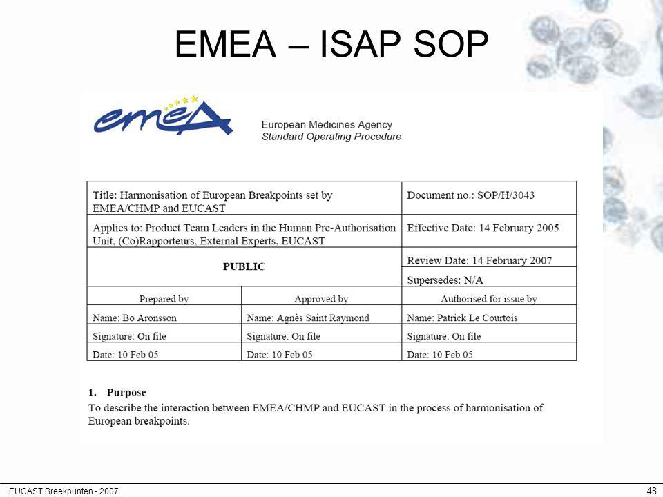 EUCAST Breekpunten - 2007 48 EMEA – ISAP SOP