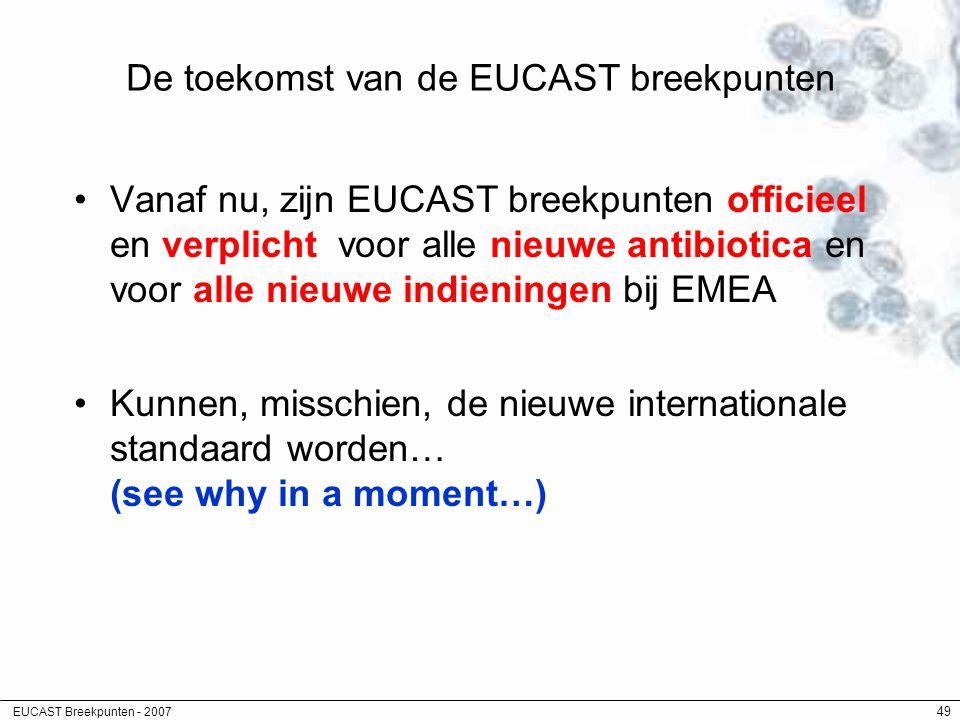 EUCAST Breekpunten - 2007 49 De toekomst van de EUCAST breekpunten Vanaf nu, zijn EUCAST breekpunten officieel en verplicht voor alle nieuwe antibioti