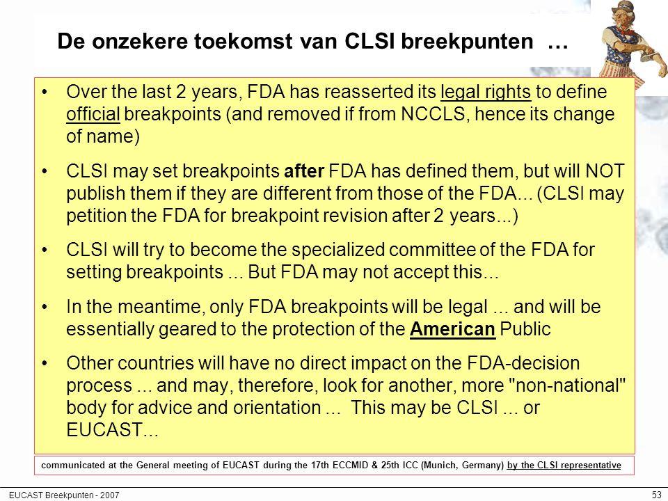 EUCAST Breekpunten - 2007 53 De onzekere toekomst van CLSI breekpunten … Over the last 2 years, FDA has reasserted its legal rights to define official