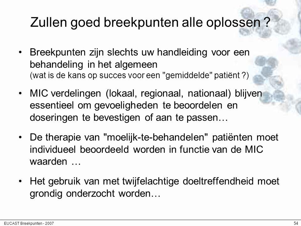 EUCAST Breekpunten - 2007 54 Zullen goed breekpunten alle oplossen ? Breekpunten zijn slechts uw handleiding voor een behandeling in het algemeen (wat