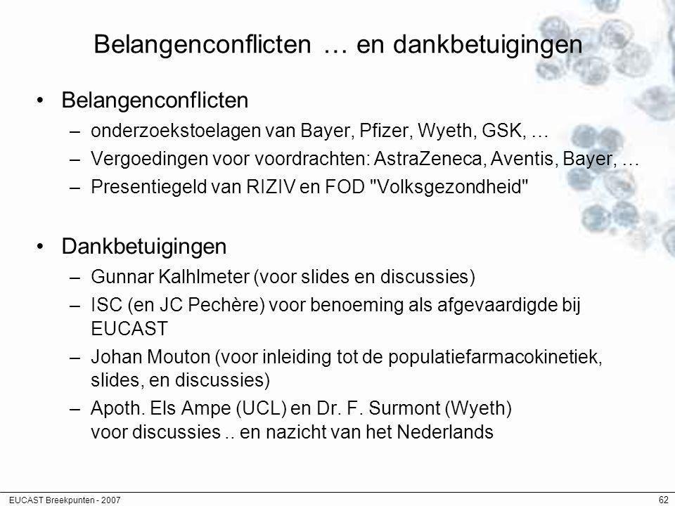 EUCAST Breekpunten - 2007 62 Belangenconflicten … en dankbetuigingen Belangenconflicten –onderzoekstoelagen van Bayer, Pfizer, Wyeth, GSK, … –Vergoedi