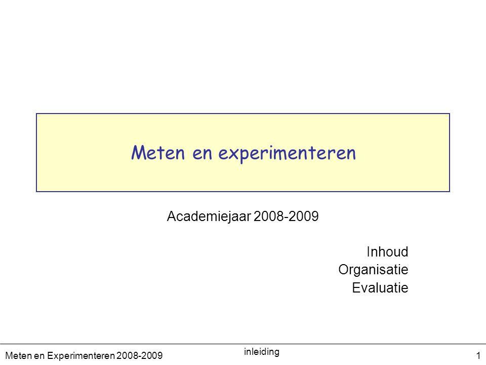 Meten en Experimenteren 2008-2009 inleiding 2 Meten en Experimenteren omkadering Verantwoordelijke : Catherine De Clercq ( catherine.de.clercq@vub.ac.be,1G005 ) Academische medewerkers Technische ondersteuning : –Hans De Nil ( hdenil@vub.ac.be, 4F118 ) Olivier Devroede (olivier.devroede@vub.ac.be,olivier.devroede@vub.ac.be 0G138) Joris Maes (jmmaes@vub.ac.bejmmaes@vub.ac.be 1G018) Petra Van Mulders (petra.van.mulders@vub.ac.be 1G018)petra.van.mulders@vub.ac.be