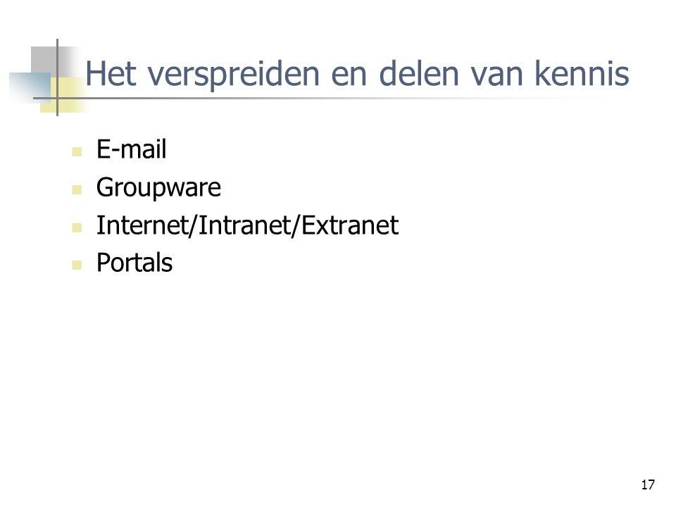 17 Het verspreiden en delen van kennis E-mail Groupware Internet/Intranet/Extranet Portals