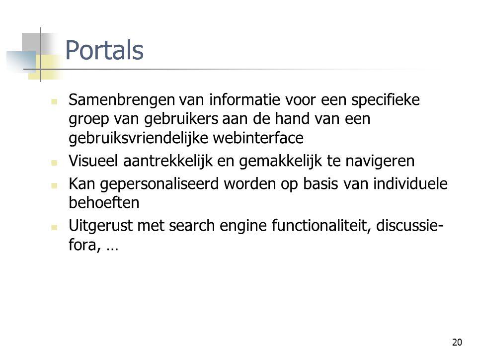 20 Portals Samenbrengen van informatie voor een specifieke groep van gebruikers aan de hand van een gebruiksvriendelijke webinterface Visueel aantrekk