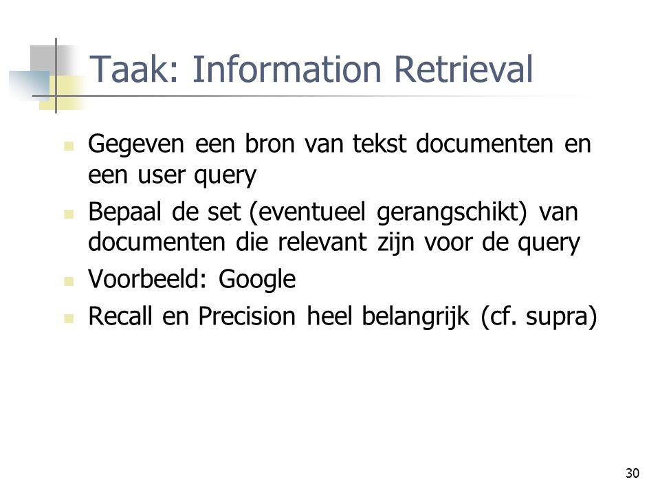 30 Taak: Information Retrieval Gegeven een bron van tekst documenten en een user query Bepaal de set (eventueel gerangschikt) van documenten die relev
