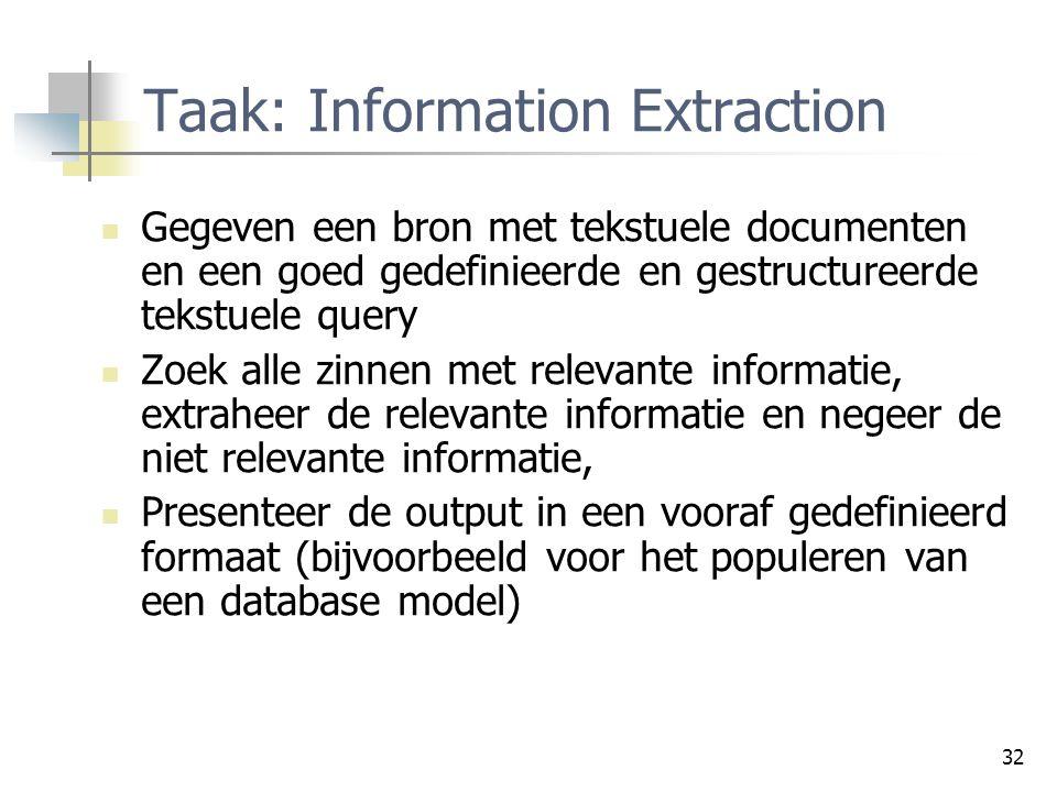 32 Taak: Information Extraction Gegeven een bron met tekstuele documenten en een goed gedefinieerde en gestructureerde tekstuele query Zoek alle zinne