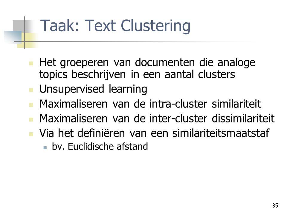 35 Taak: Text Clustering Het groeperen van documenten die analoge topics beschrijven in een aantal clusters Unsupervised learning Maximaliseren van de