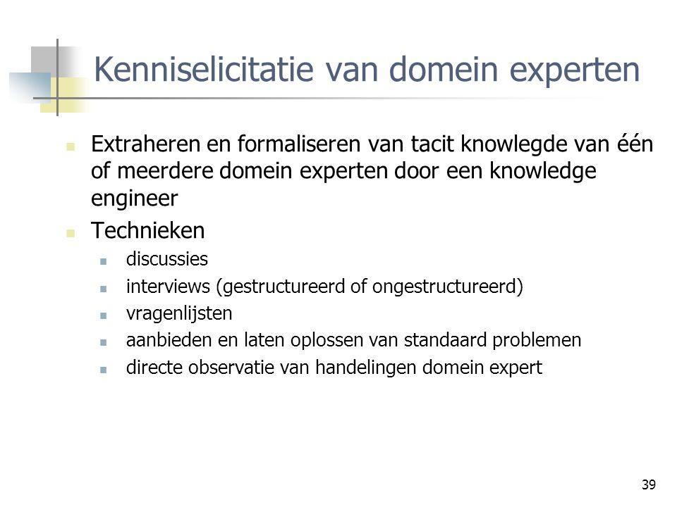 39 Kenniselicitatie van domein experten Extraheren en formaliseren van tacit knowlegde van één of meerdere domein experten door een knowledge engineer