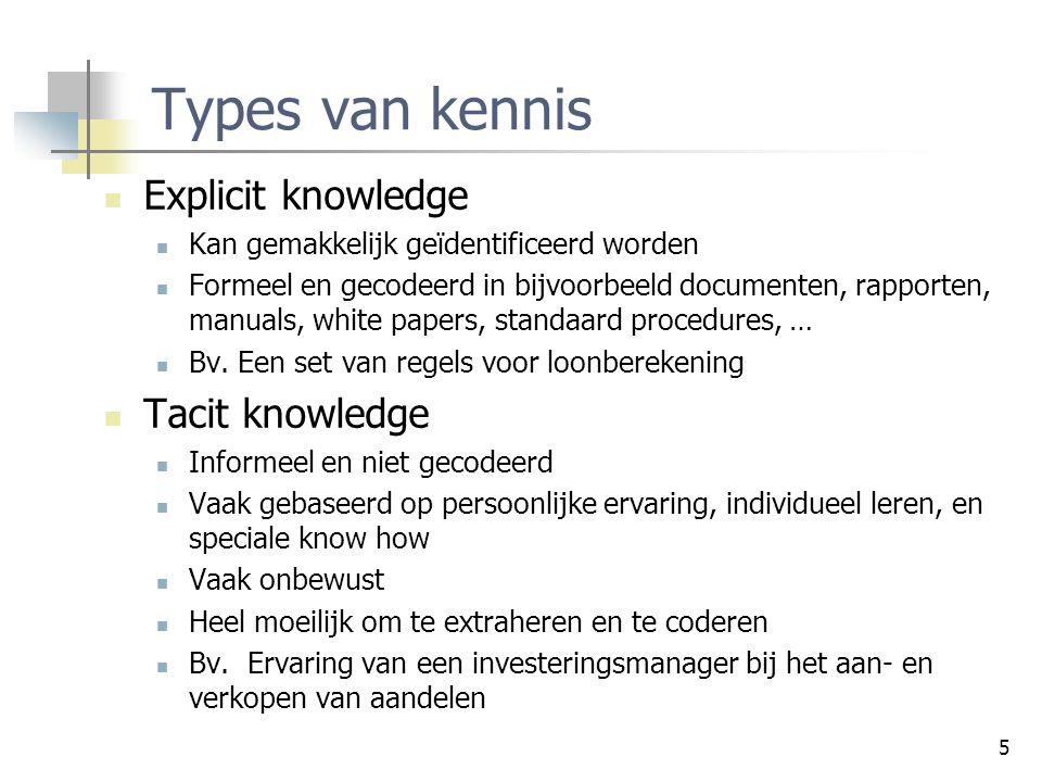 5 Types van kennis Explicit knowledge Kan gemakkelijk geïdentificeerd worden Formeel en gecodeerd in bijvoorbeeld documenten, rapporten, manuals, whit