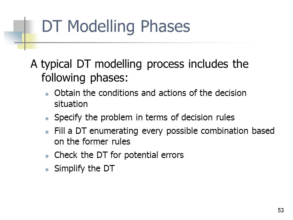 53 DT Modelling Phases A typical DT modelling process includes the following phases: Obtain the conditions and actions of the decision situation Speci