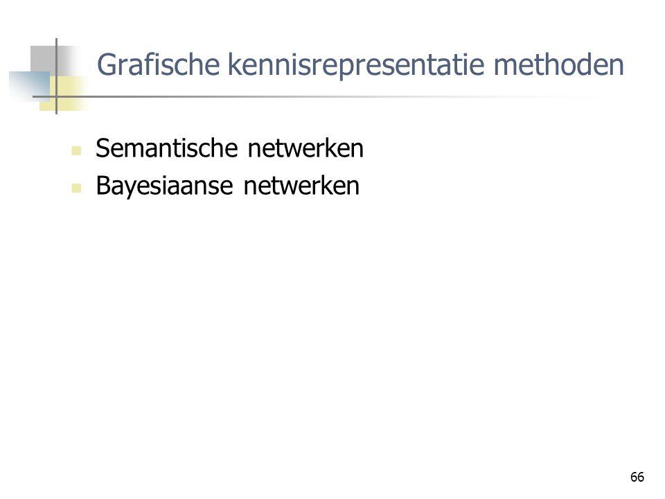 66 Grafische kennisrepresentatie methoden Semantische netwerken Bayesiaanse netwerken